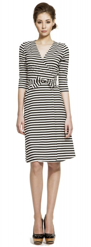 Stripe 3/4 sleeve wrap dress